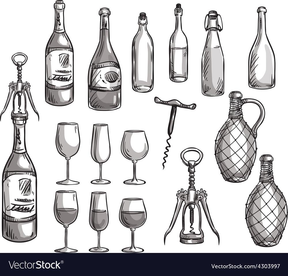Set of wine bottles glasses and corkscrews