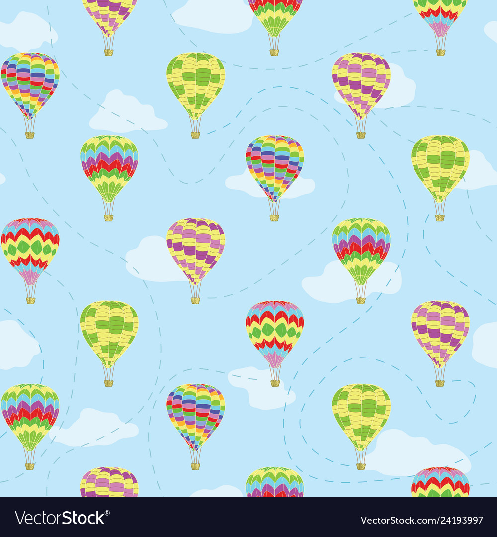 Travel Repeat Pattern Of Hot Air Balloons Vector Image