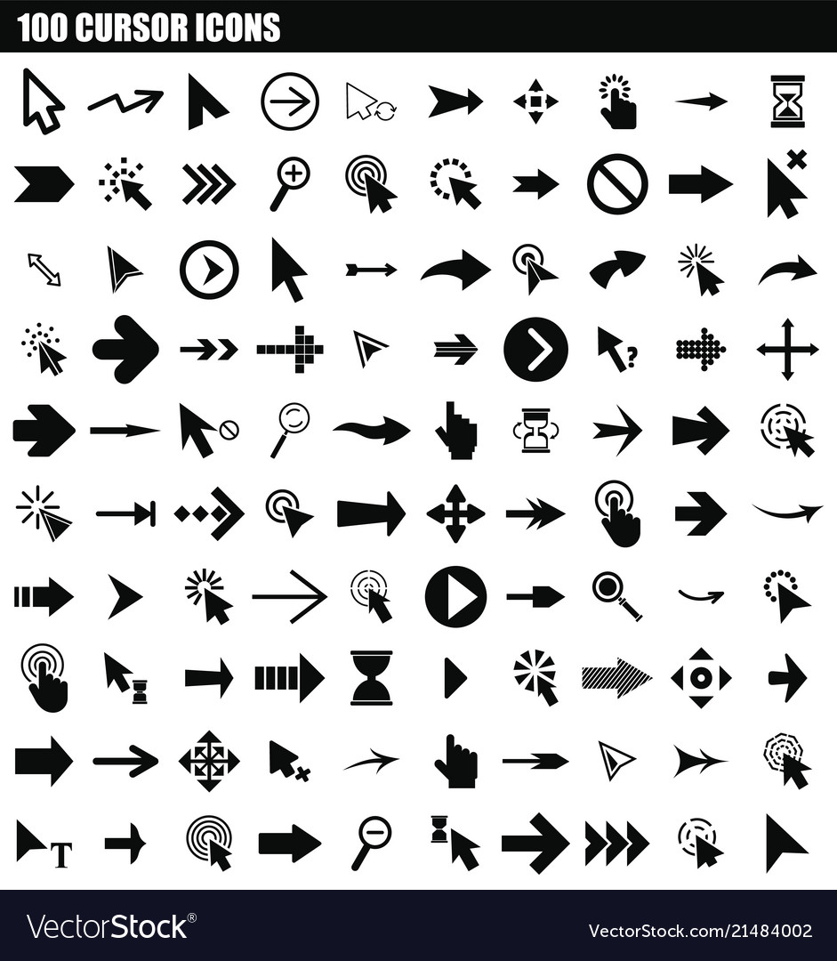 100 cursor icon set simple style