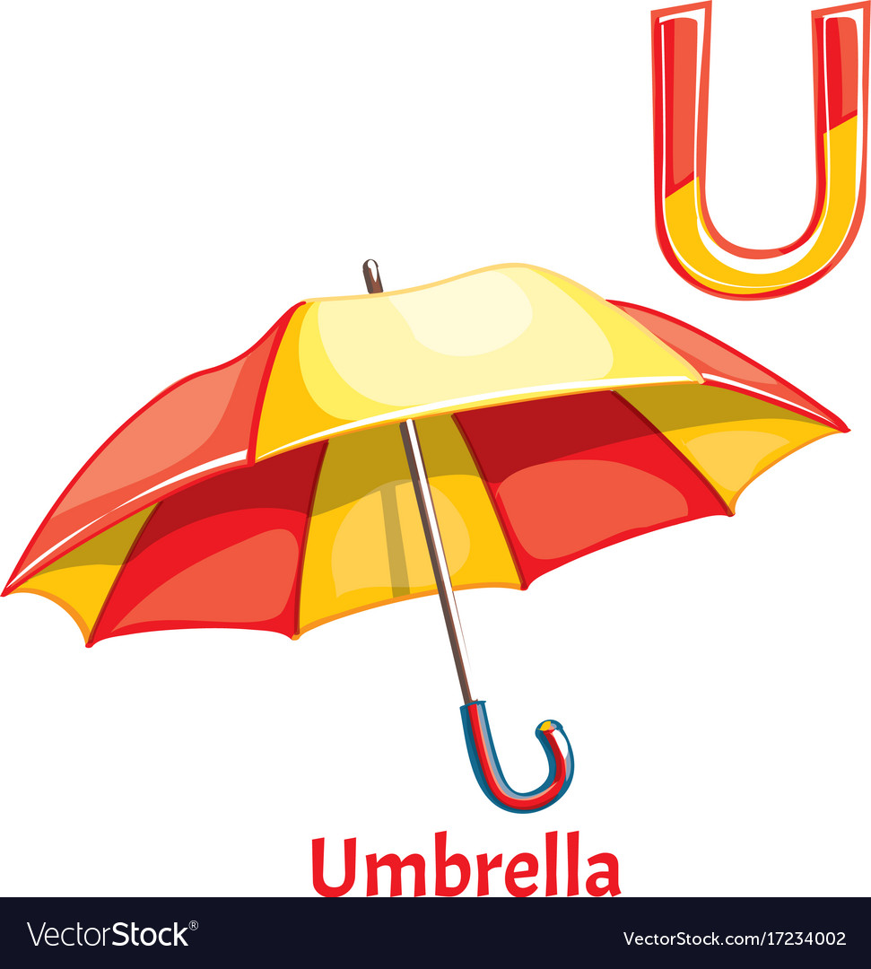 Alphabet Letter U Umbrella Vector Image