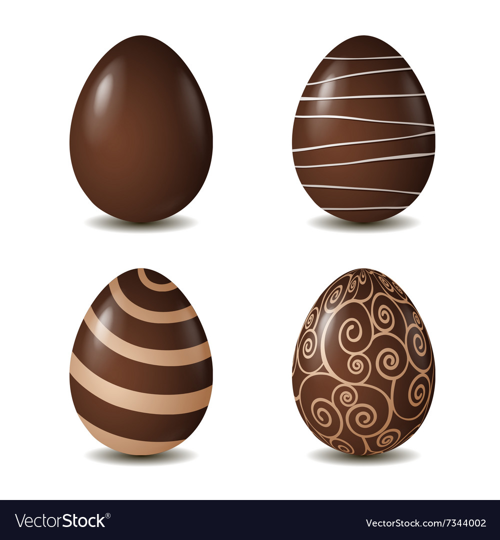 Chocolate eggs collection isolated on white