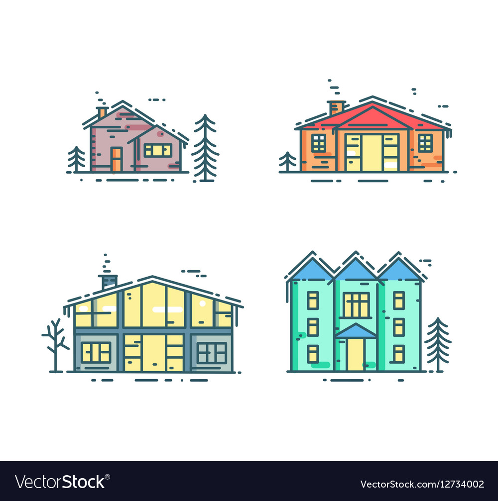 Colorful line houses icon set