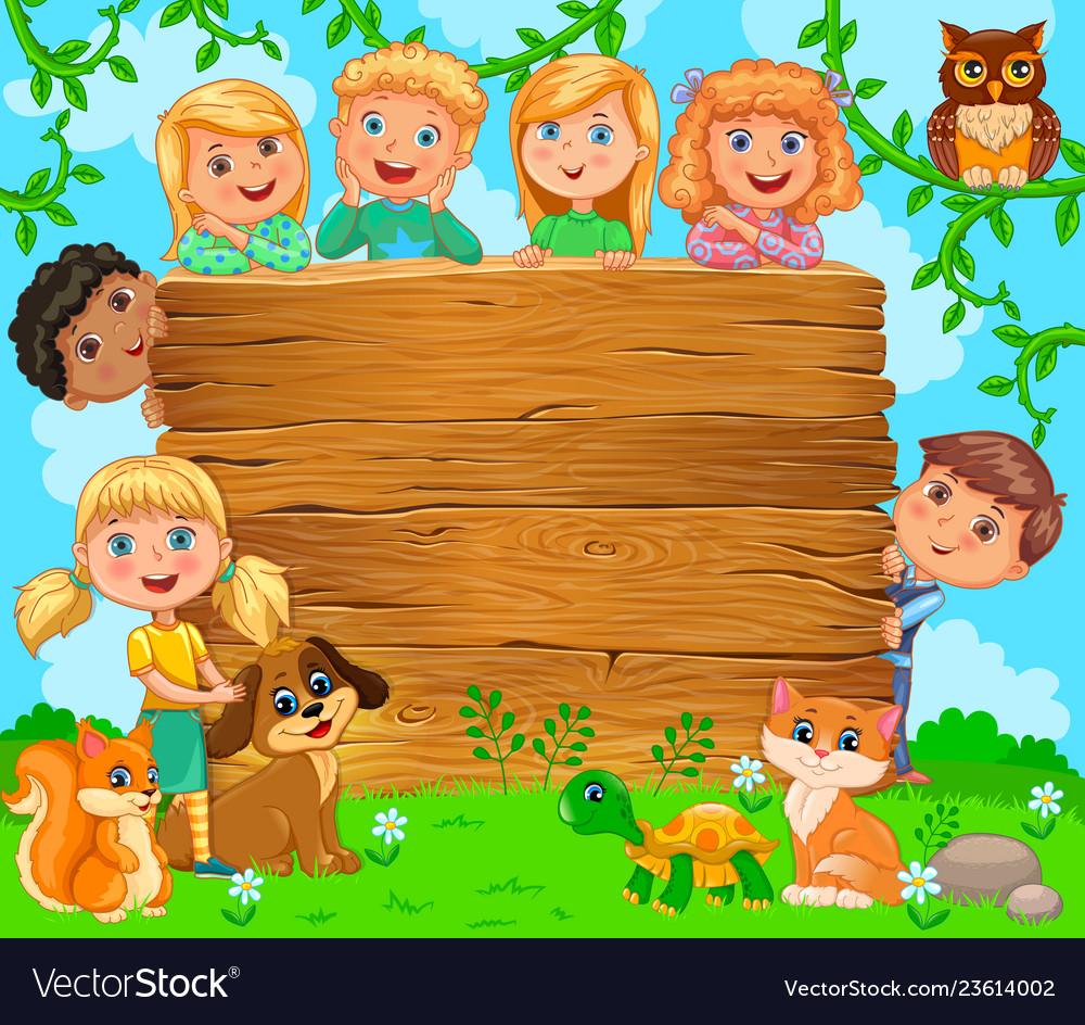 Cute children and pets near wooden blank banner