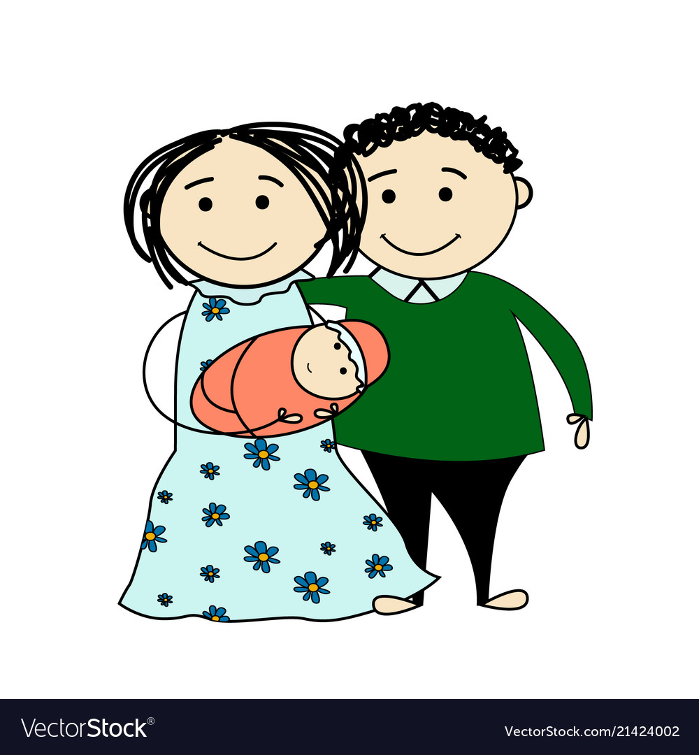 Funny sketch of a happy family