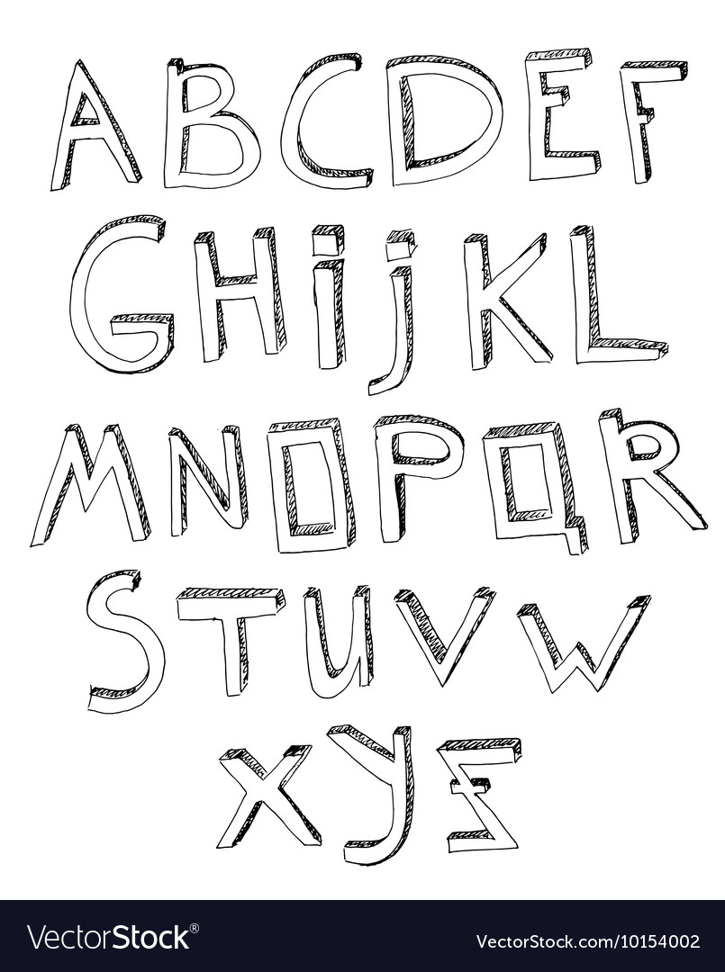 Hand Drawn Alphabet 03 A
