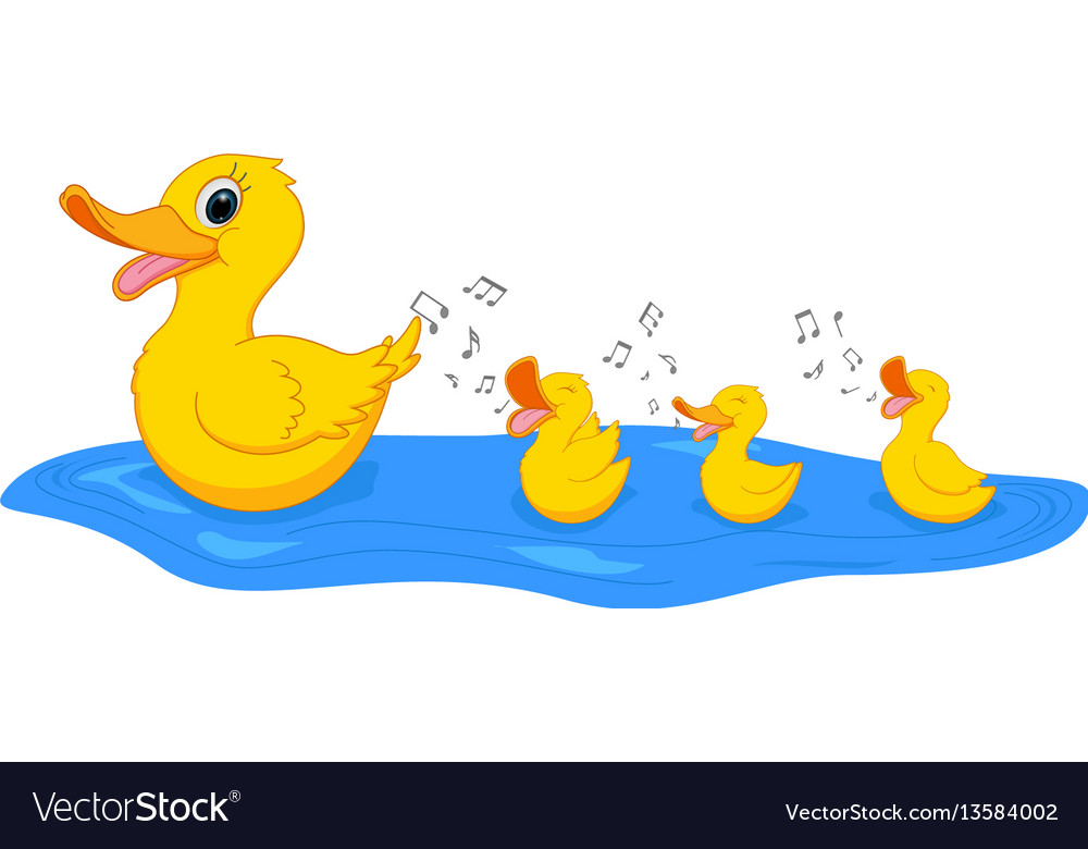Happy mother duck swimming with duckling vector image