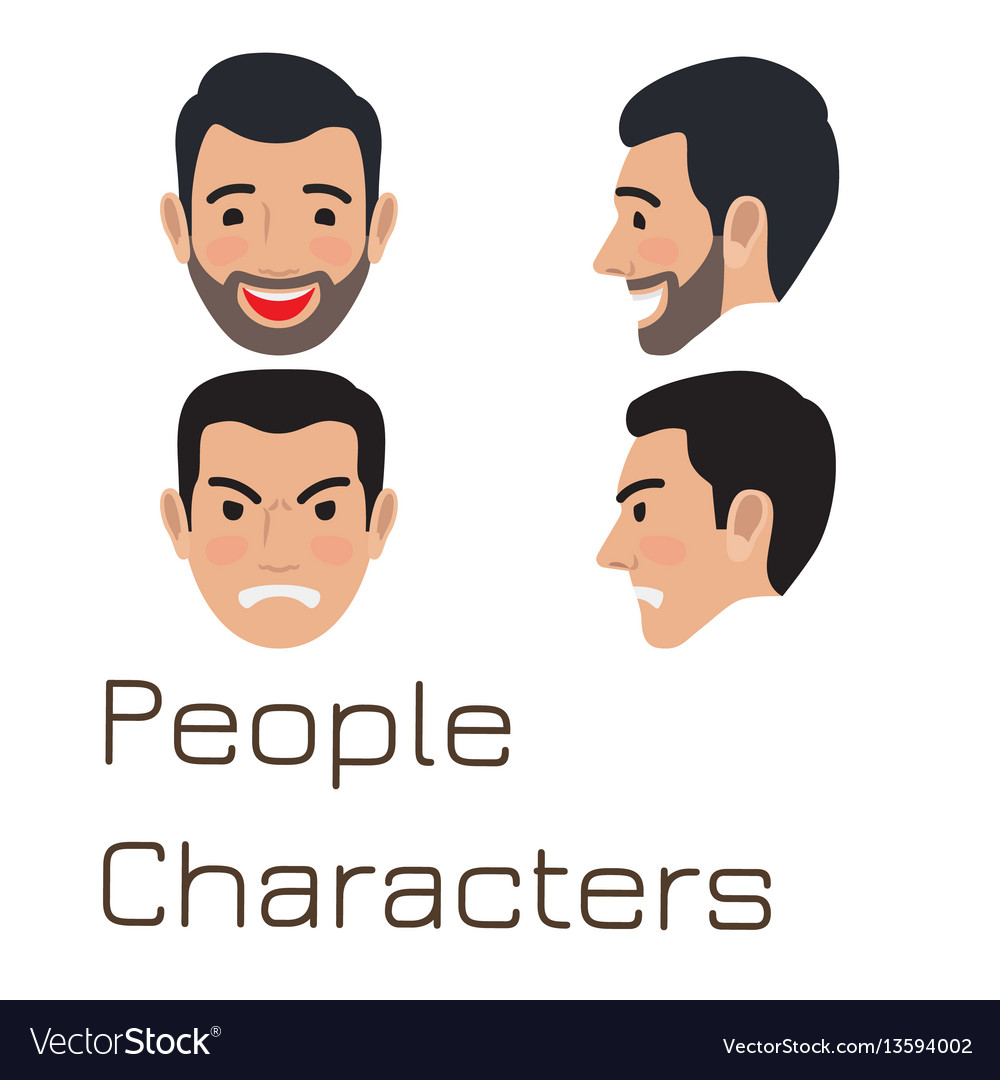 People characters sad and happy man avatar