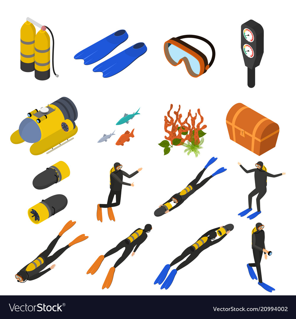 Scuba diving signs 3d icons set isometric view