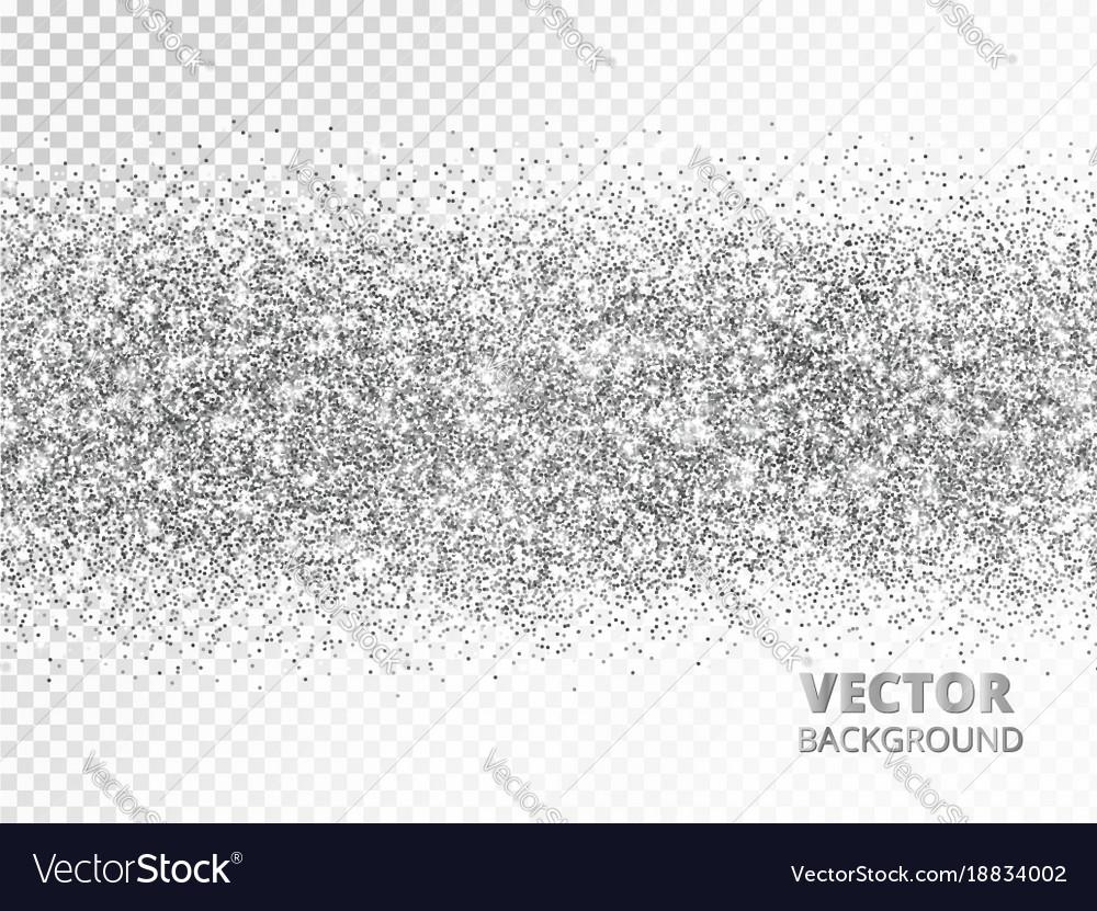 Sparkling glitter border isolated on white silver