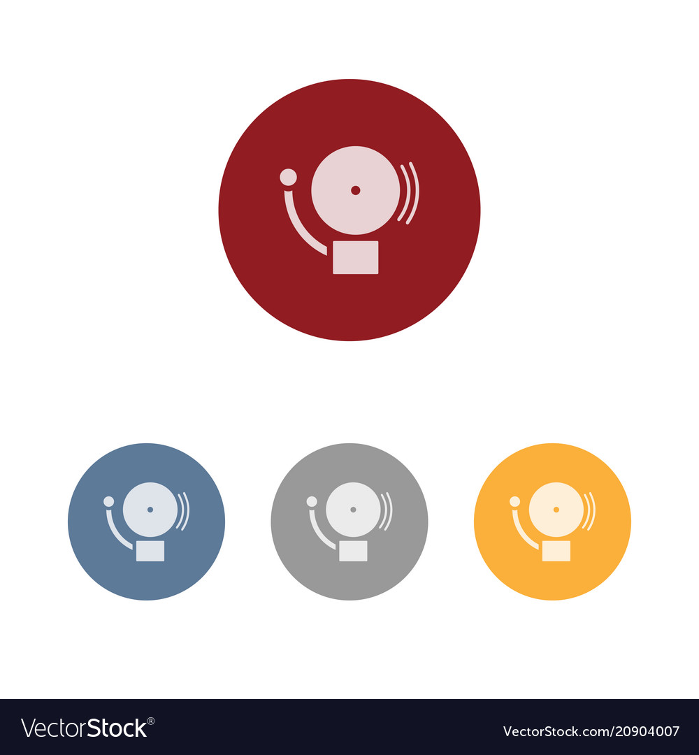 Alarm icon on four colored circles and a white