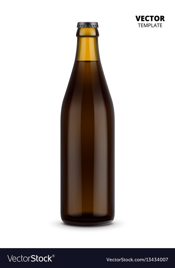 Beer bottle glass mockup isolated