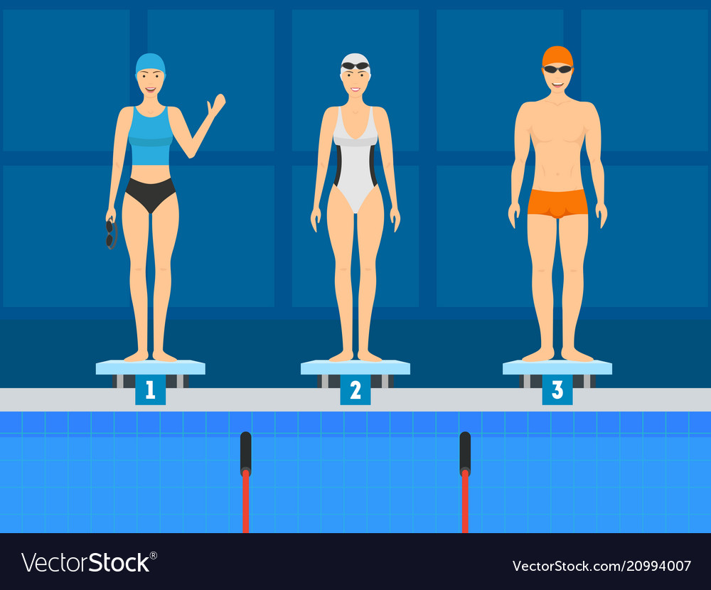 Cartoon swimmer on the starting line concept