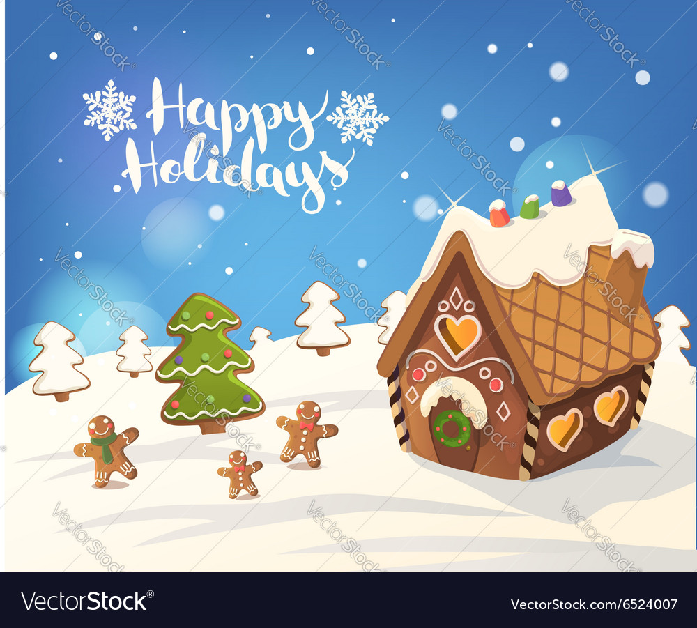 Christmas Gingerbread House Background.Cristmas Background With Gingerbread House Vector Image