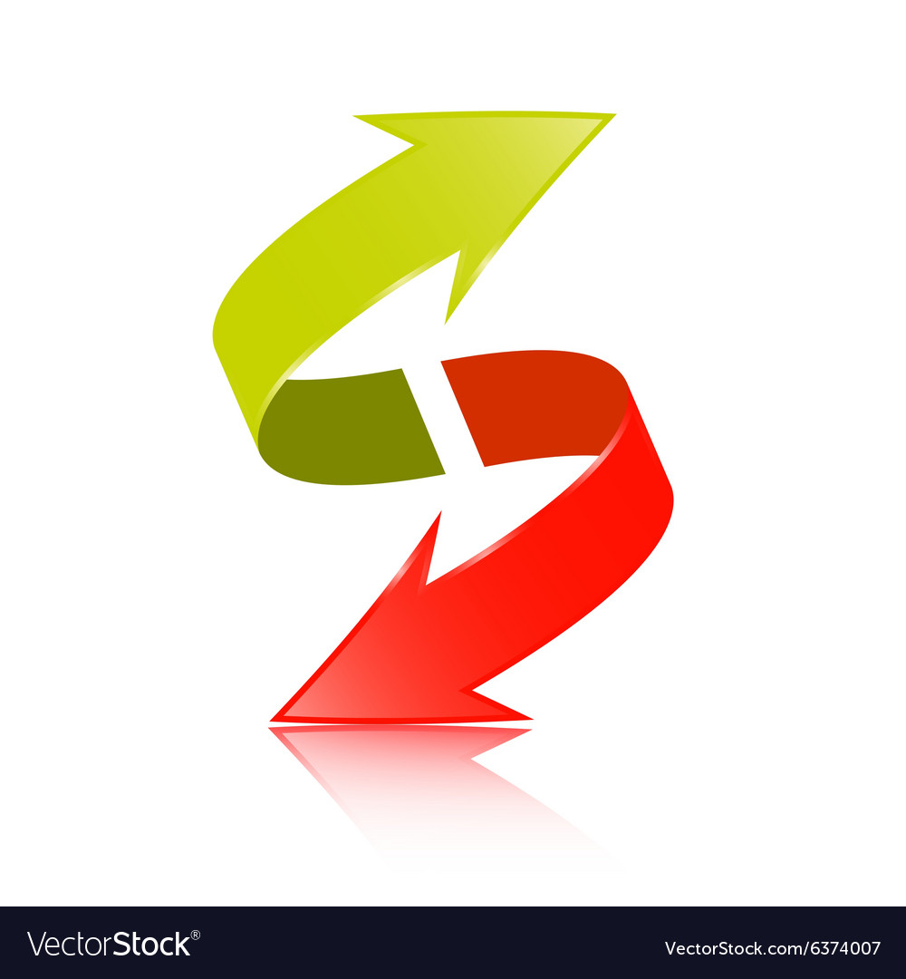 Double Arrow 3d Green And Red Symbol Royalty Free Vector