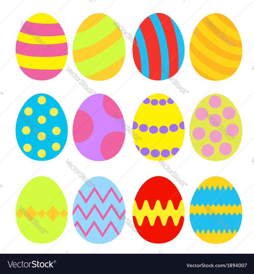 Easter eggs colorful set isolated