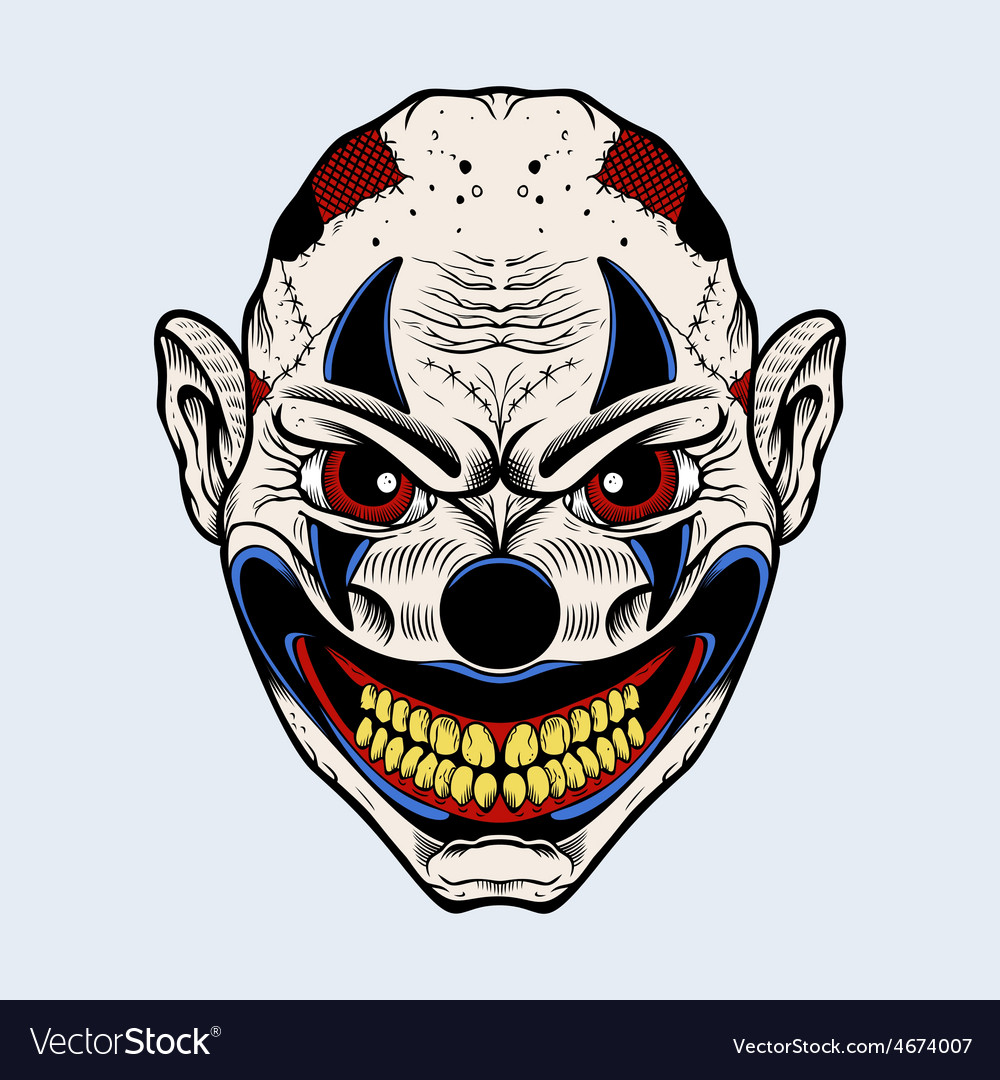 Evil clown with red eyes