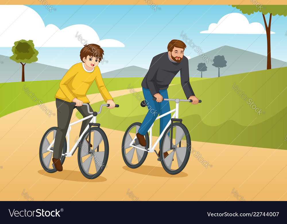 Father and son going biking outdoors