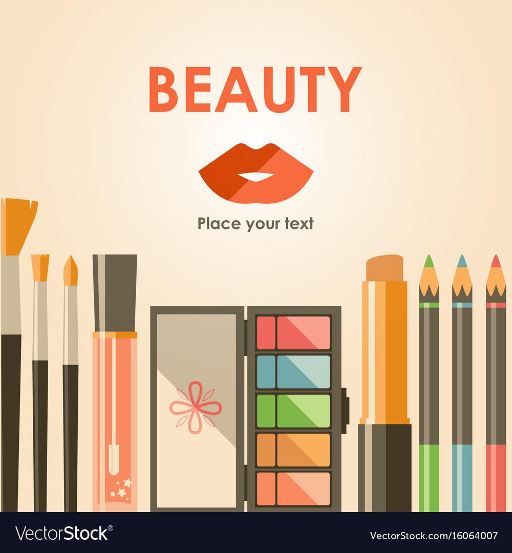 Flat cosmetics bacground beauty fashion products