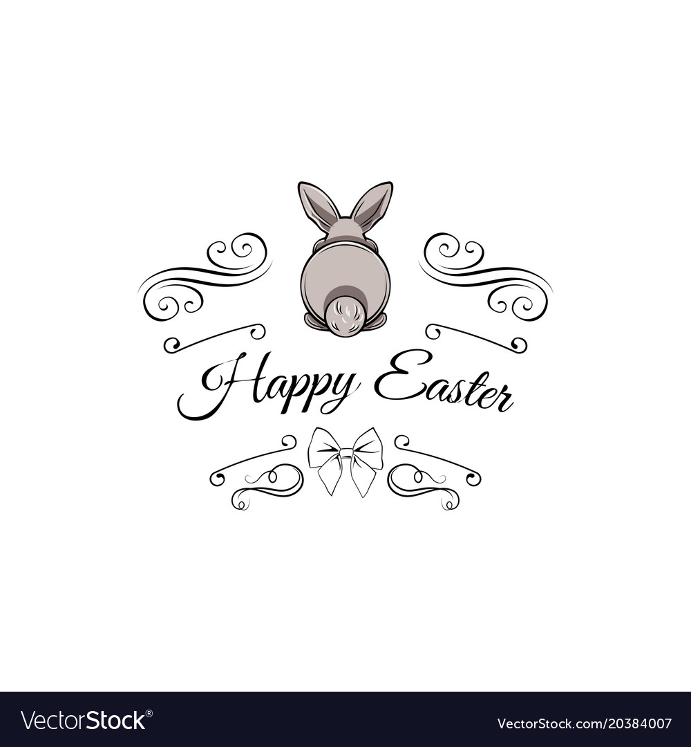 Gray easter bunny greeting card swirls bow