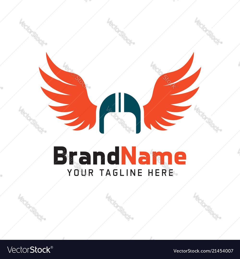Helmet biker wings logo minimalist simple logo