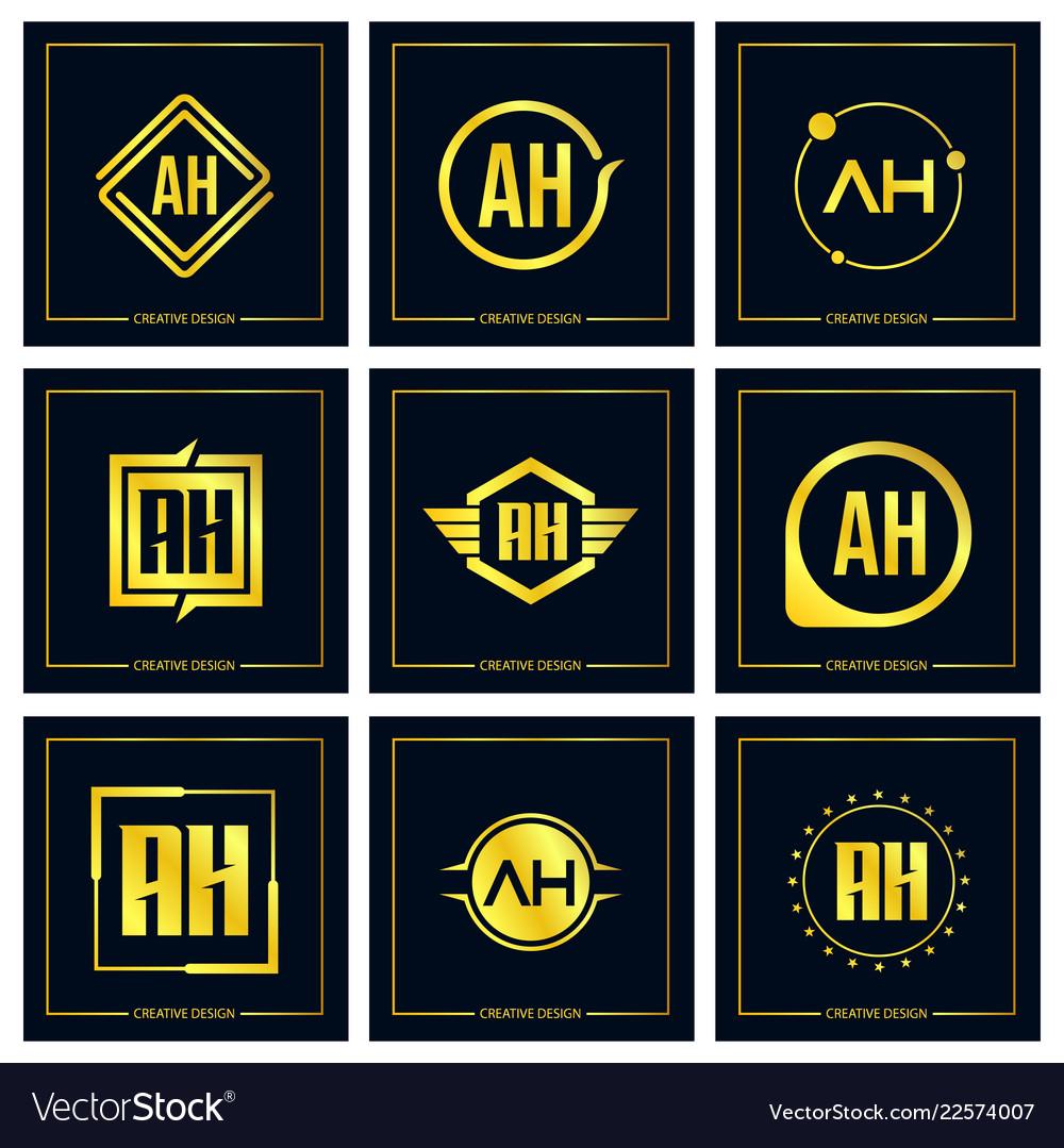 Initial letter ah logo set design