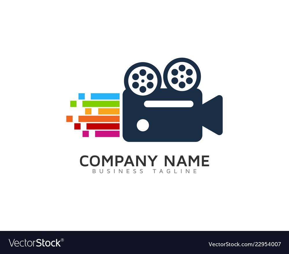 Pixel art video logo icon design