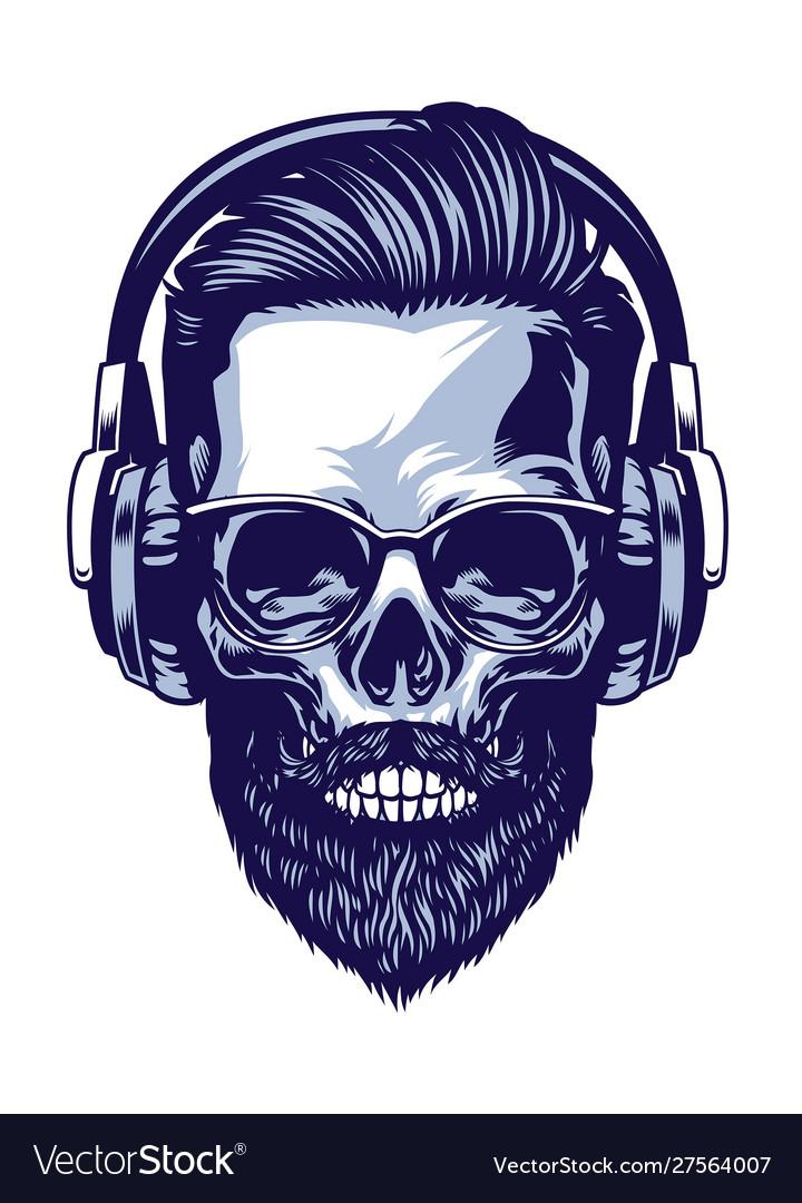 Skull bearded hipster wearing headphone