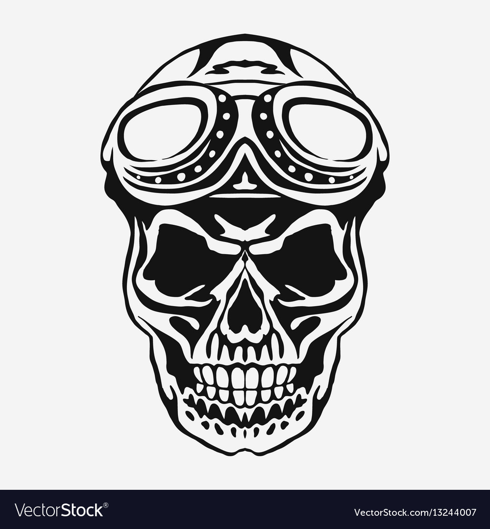 Skull rider in helmet with goggles