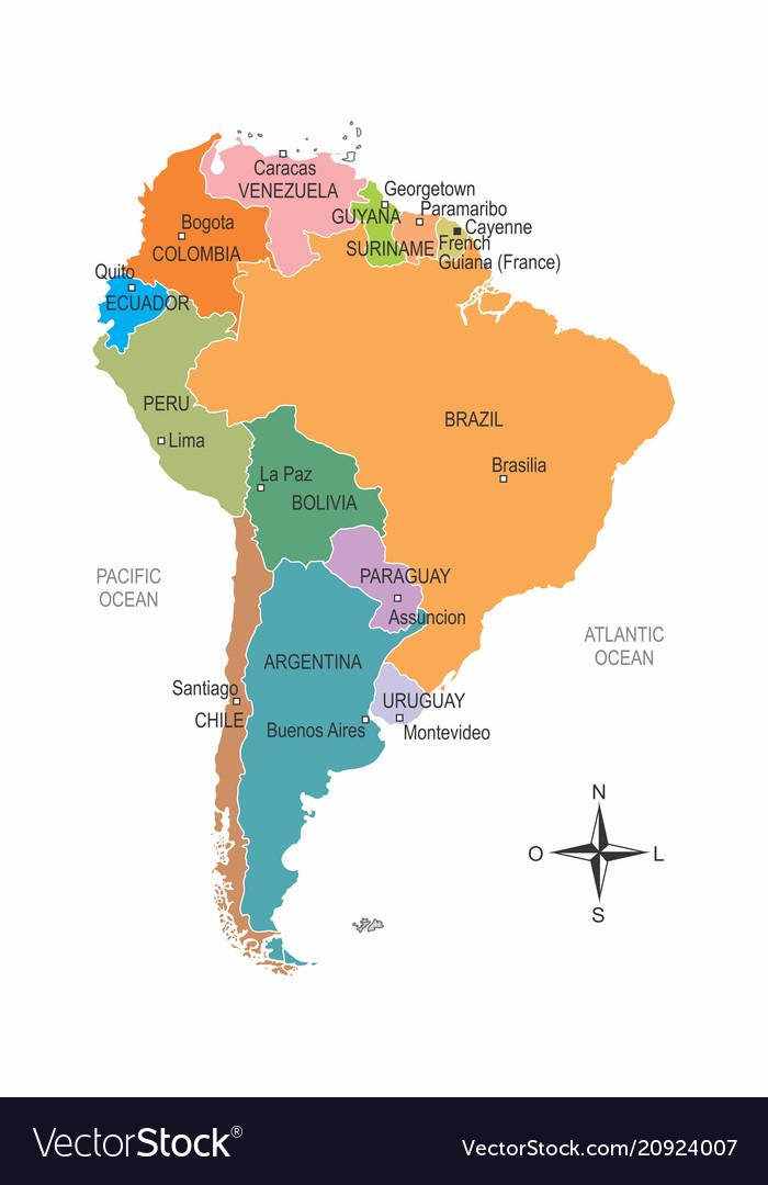 South america colorful map on