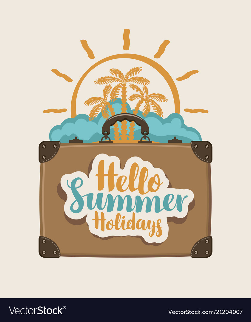 Summer travel banner with suitcase palms and sun