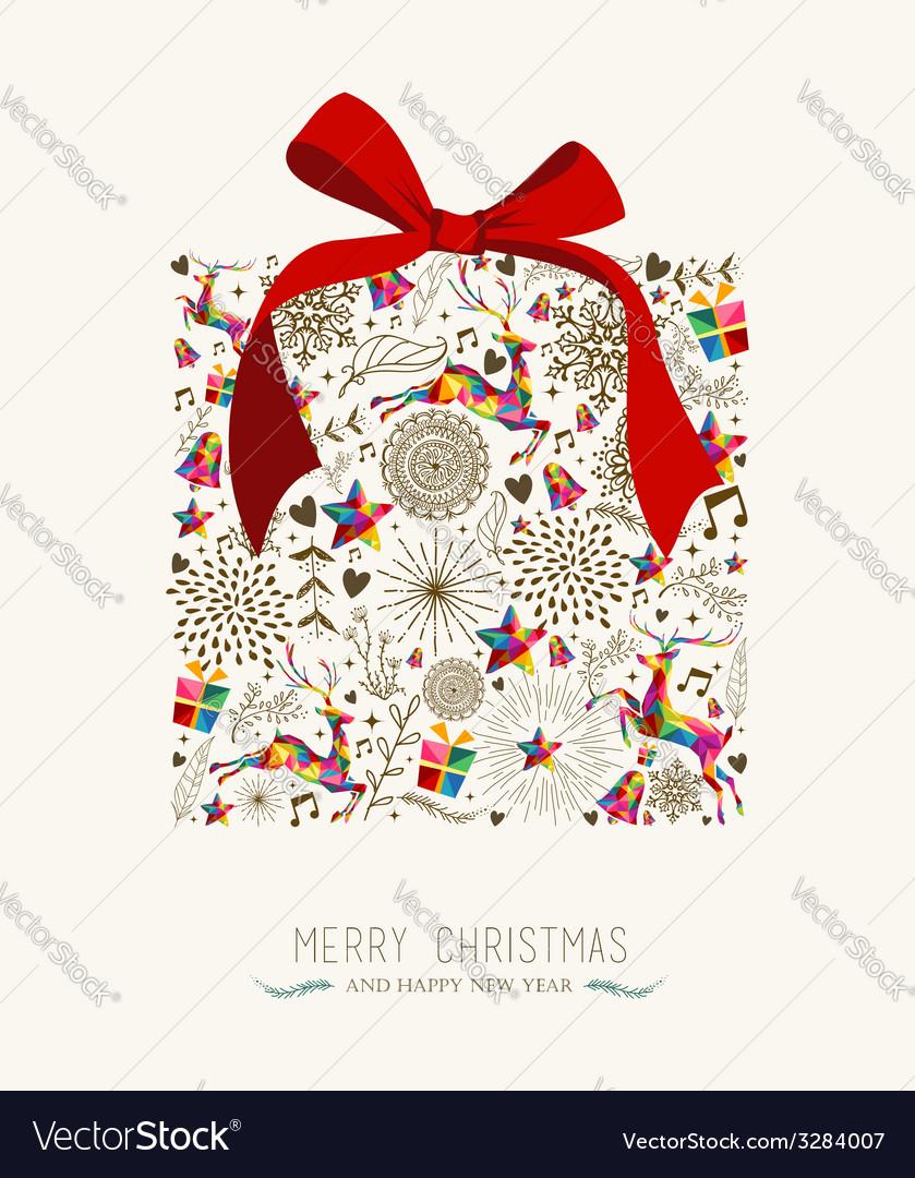 Vintage Christmas gift greeting card
