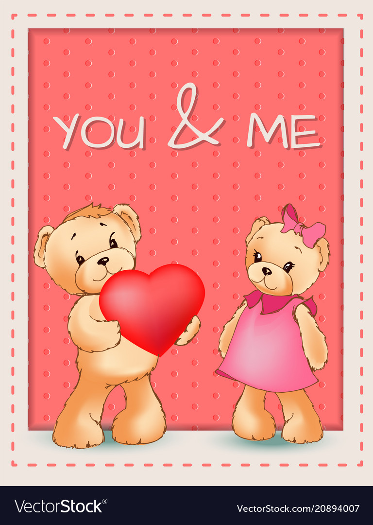 You and me happy valentines day poster two bears