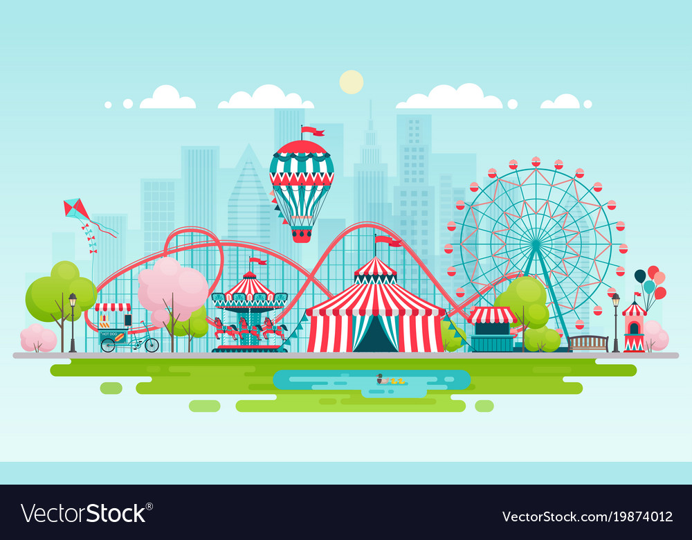 Amusement park urban landscape