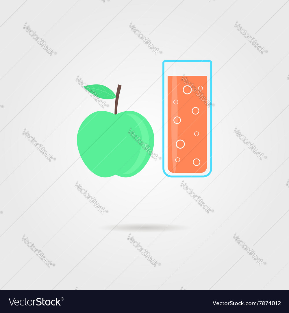 Apple and glass of orange juice with shadow
