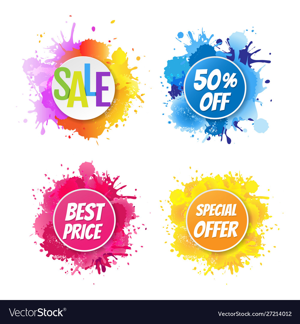 Bright banner with colorful blobs
