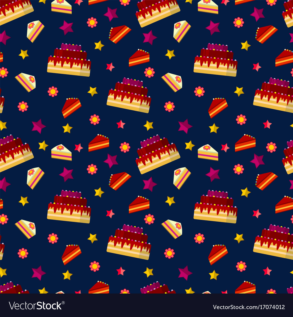 Colorful birthday cakes seamless pattern