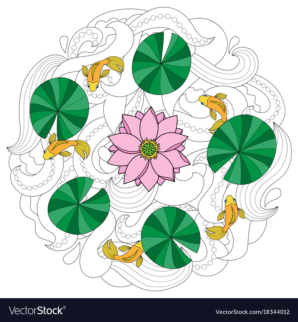 Lotus and fishes coloring page Royalty Free Vector Image