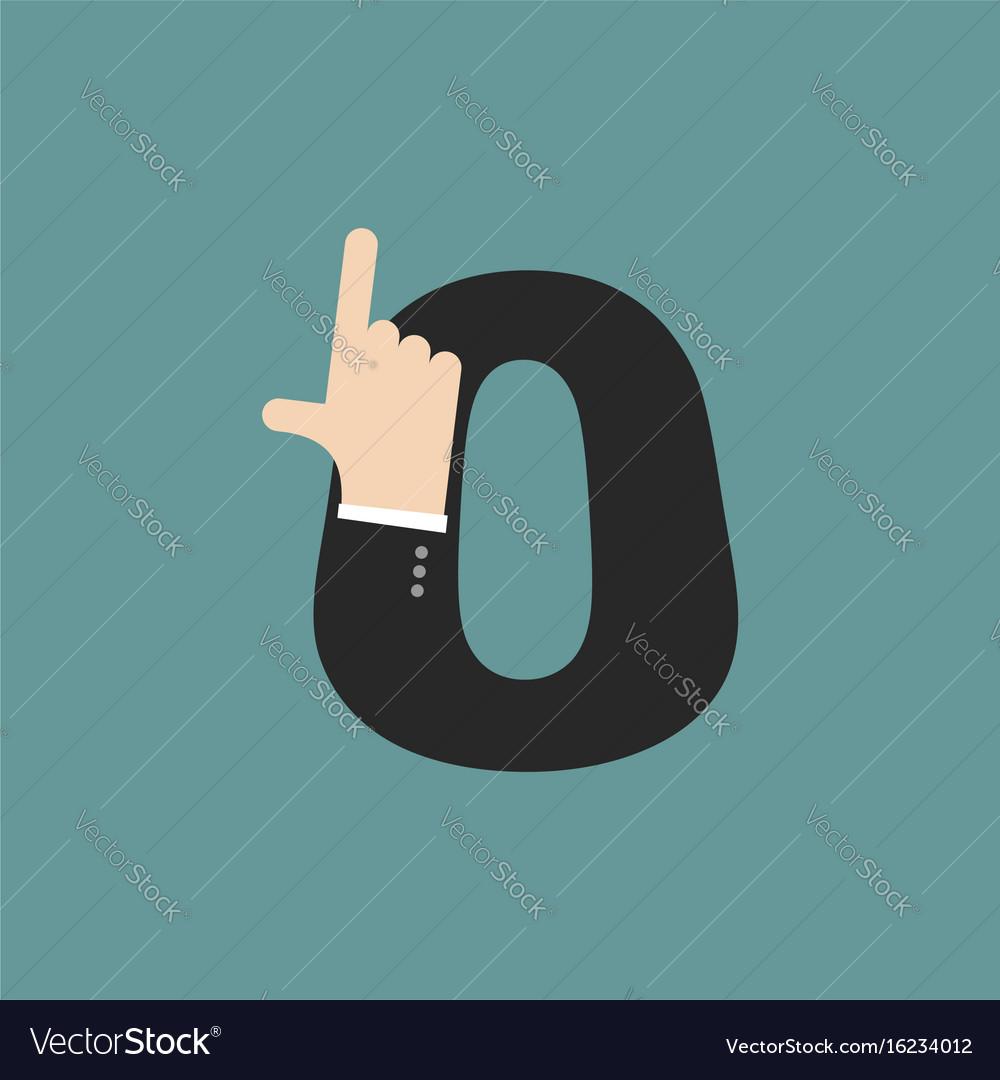 Number 0 letter businessman hand font it shows vector image