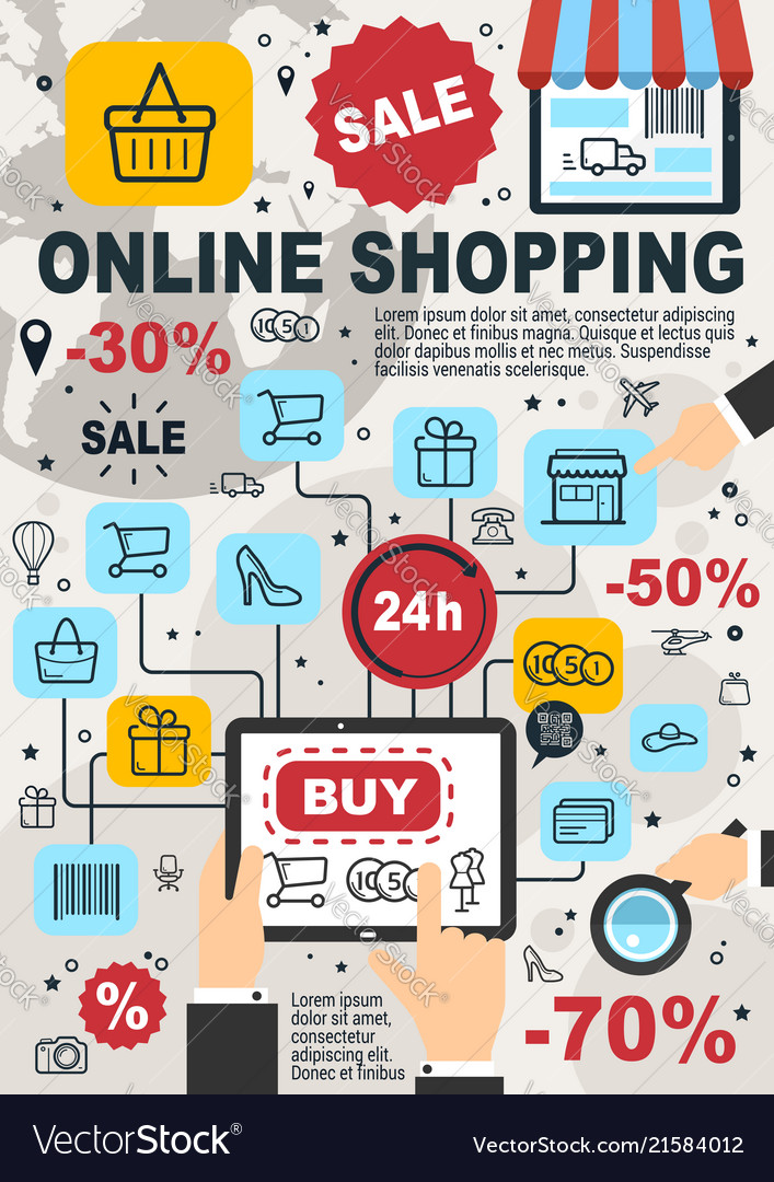Online shopping and web store sale poster Vector Image