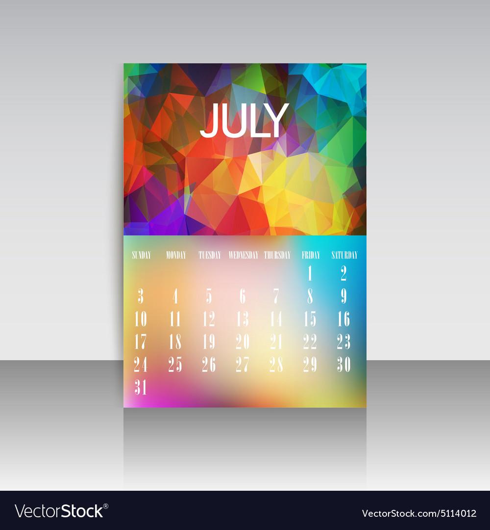 Polygonal 2016 calendar design for JULY