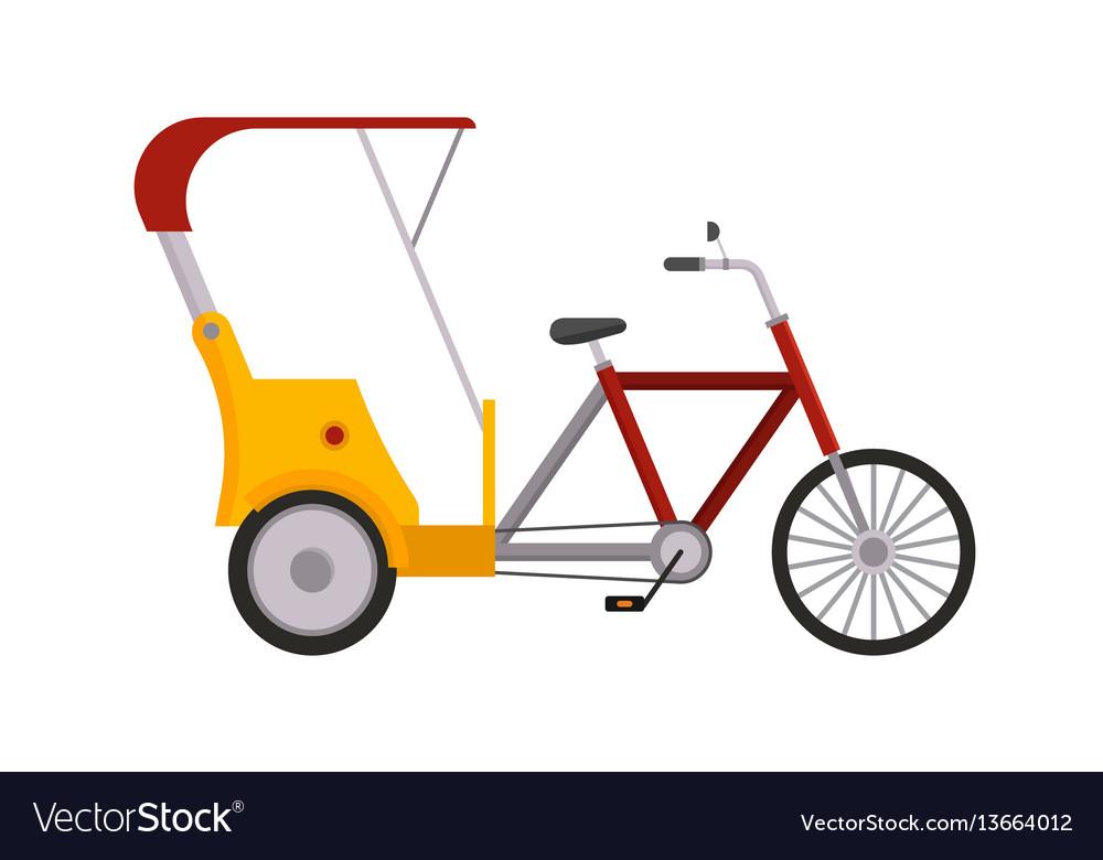 Rickshaw bike isolated taxi yellow tourism