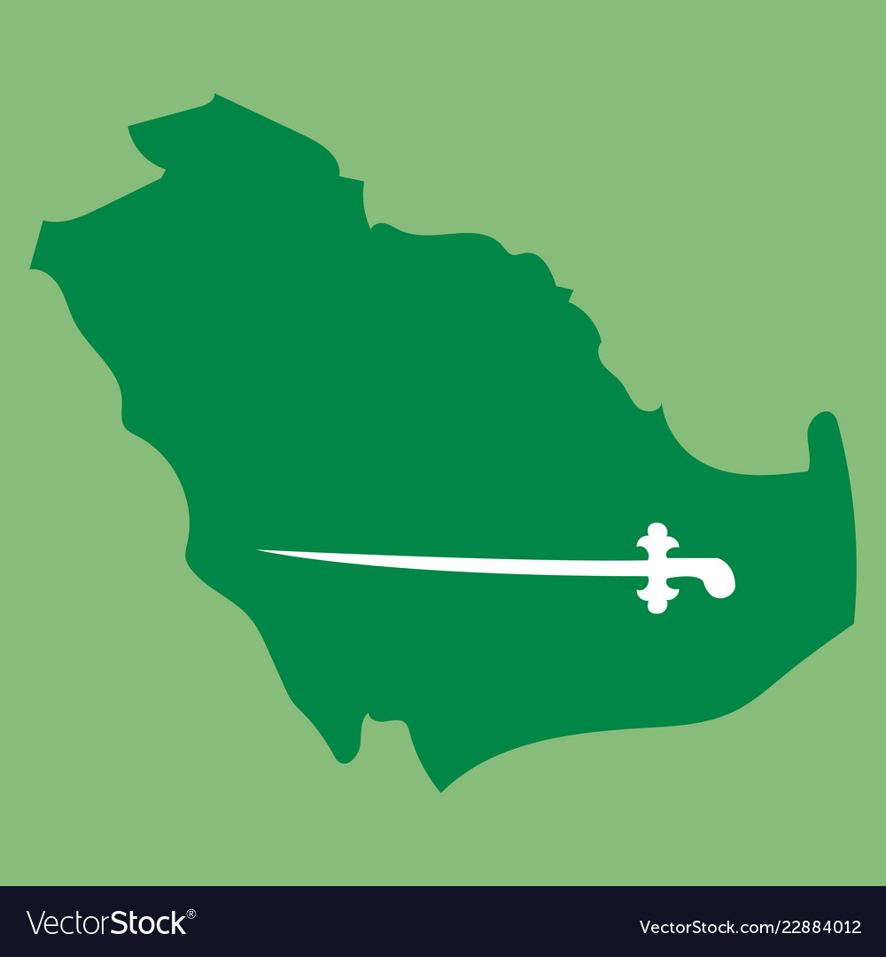 Saudi arabia map with flag Royalty Free Vector Image