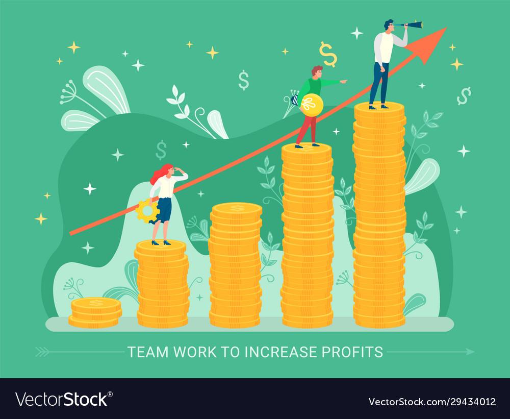 Teamwork to increase profits businessman