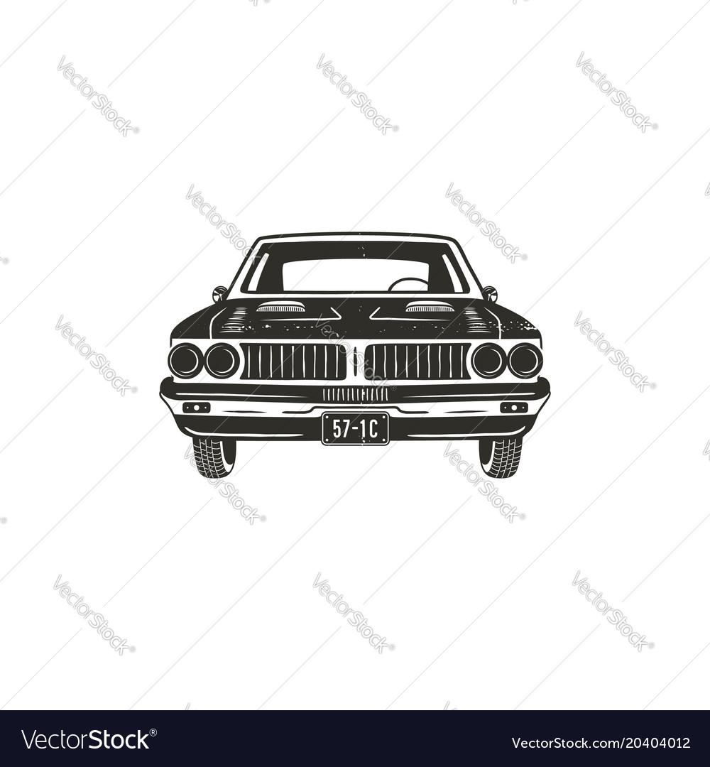 Vintage hand drawn muscle car retro car symbol