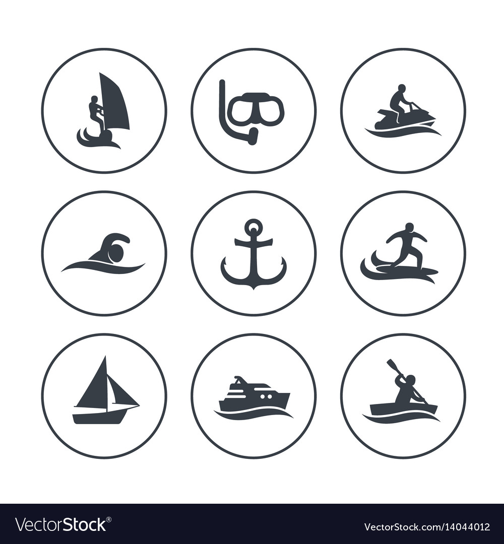 Water sports icons surfing sailing diving