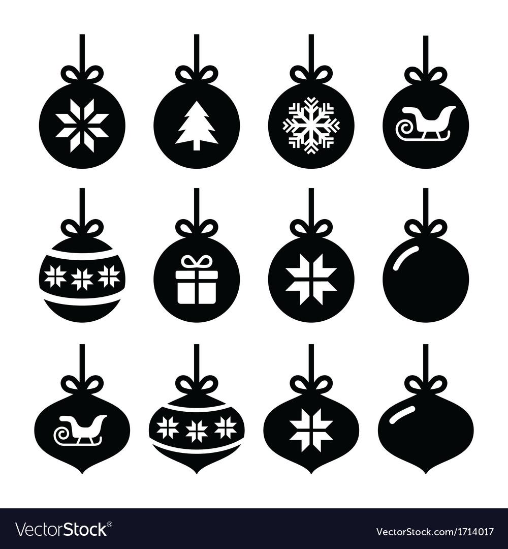 Christmas ball christmas bauble icons set