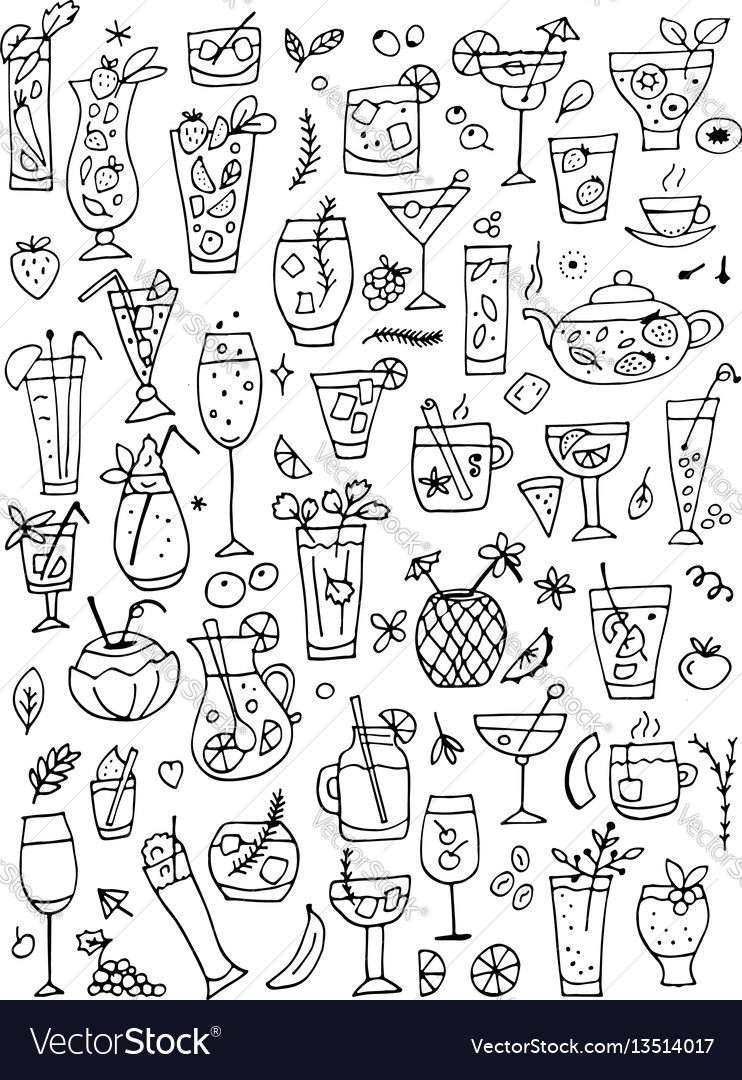 Drinks collection design of coloring book page