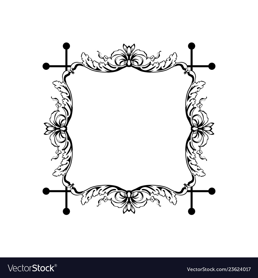 Floral vintage square frame isolated on
