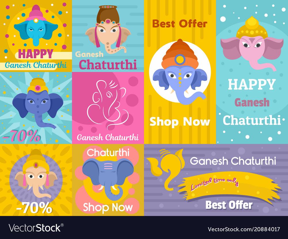 Ganesh chaturthi banner concept set flat style vector image