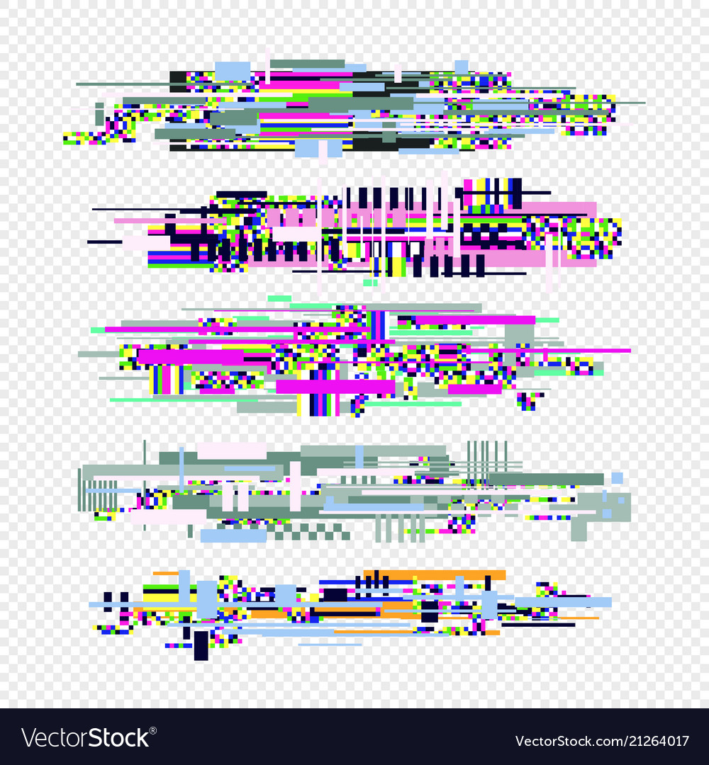 Glitch effect style elements set